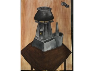 Oil painting-Old  fire stove
